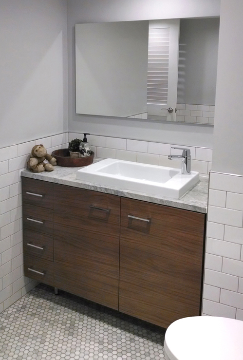 walnut laminate vanity